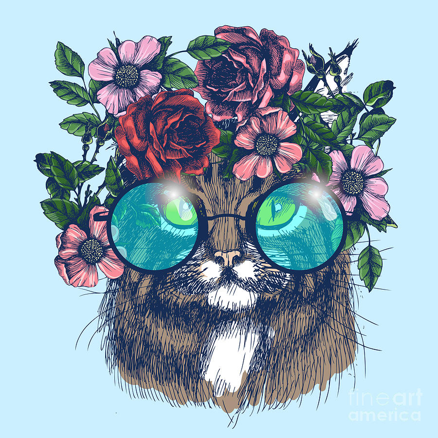 Symbol Digital Art - Maine Coon Cat Portrait With Floral by Moopsi