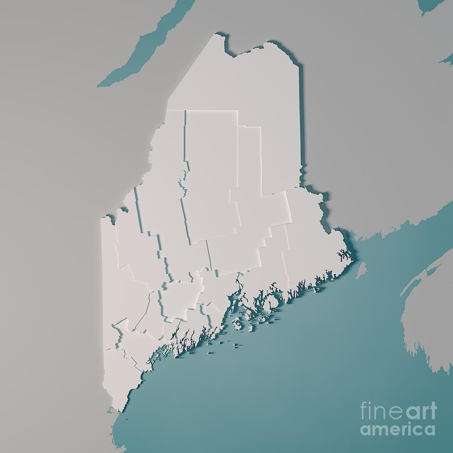 Maine Us State Map Administrative Divisions Counties 3d Render on map of ogunquit maine, earthquake maine, state map maine, walmart maine, united states maine, google maps maine,