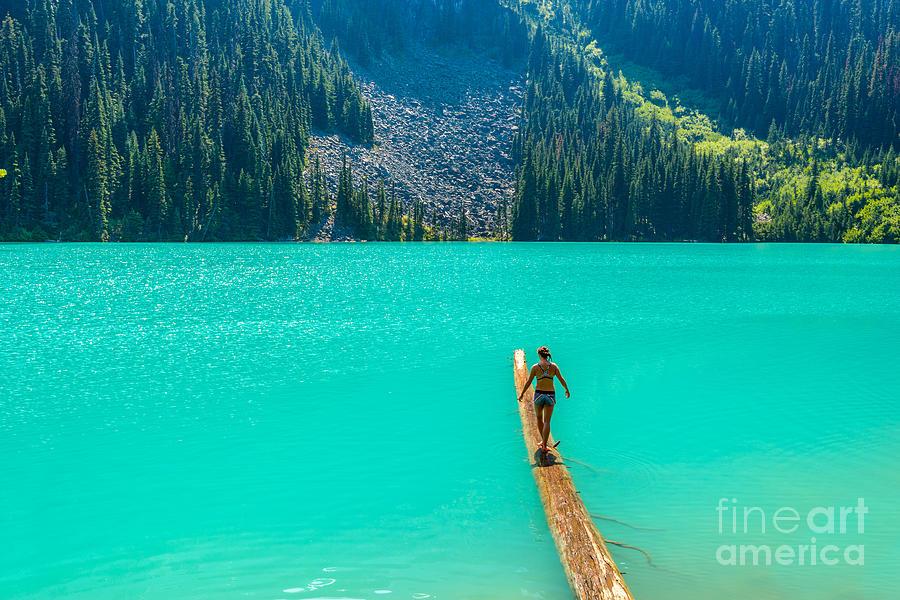 Beauty Photograph - Majestic Mountain Lake In Canada. Upper by Karamysh