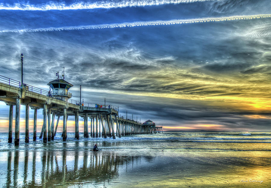Majestic Preparation Huntington Beach Pier Sunset Reflections California Seascape Art by Reid Callaway