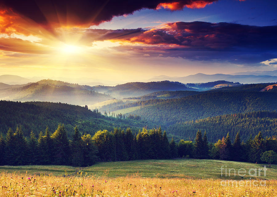 Beam Photograph - Majestic Sunset In The Mountains by Creative Travel Projects