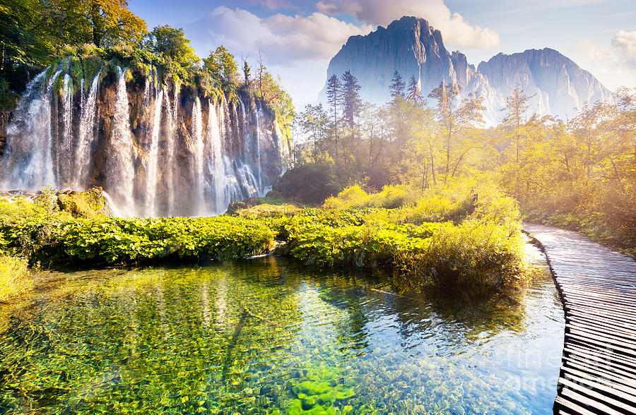 Flora Photograph - Majestic View On Waterfall With by Creative Travel Projects