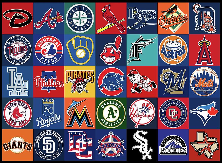 Major League Baseball Background Logo Teams Mixed Media by ...