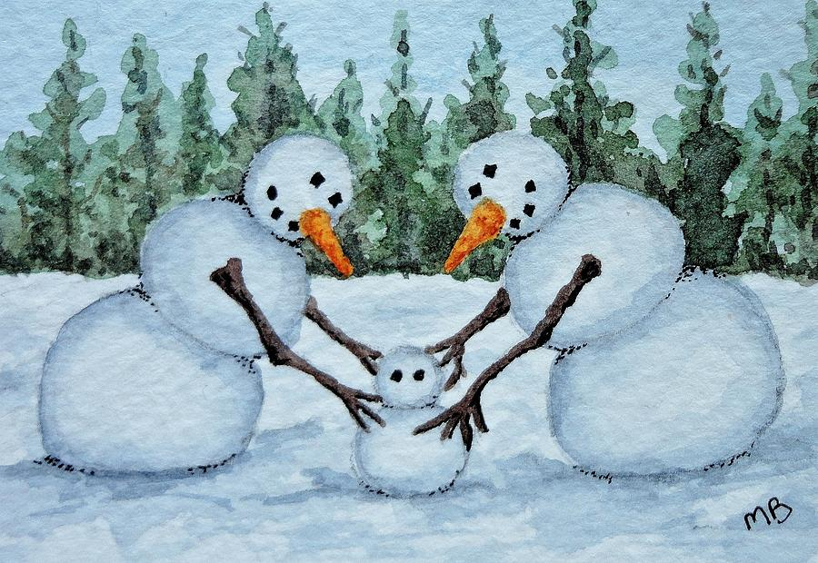 Snowman Painting - Making A Snowbaby by Michele Bolling