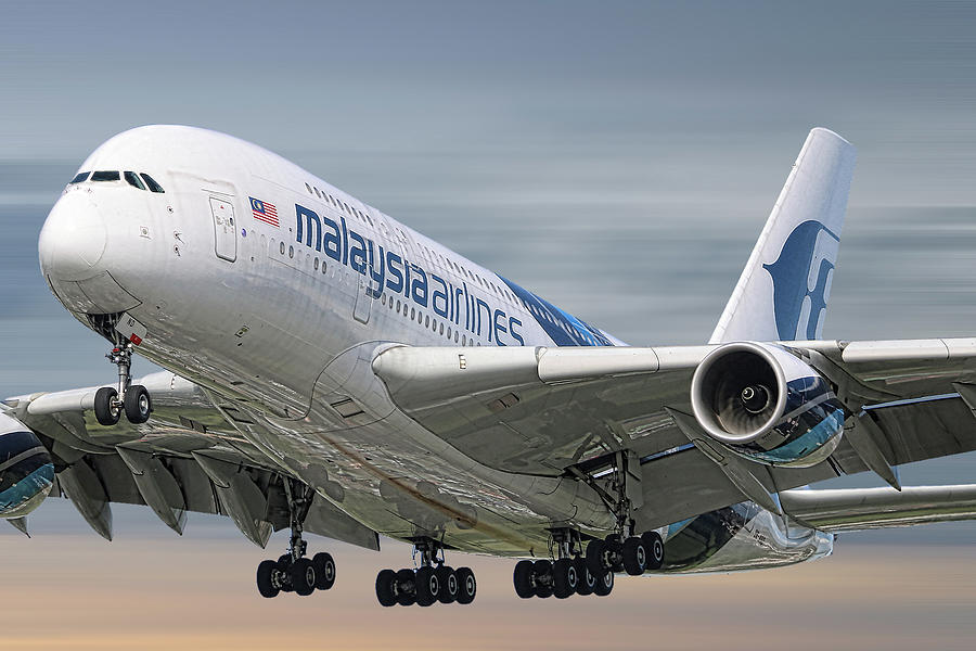 Malaysia Airlines Mixed Media - Malaysia Airlines Airbus A380-841 by Smart Aviation