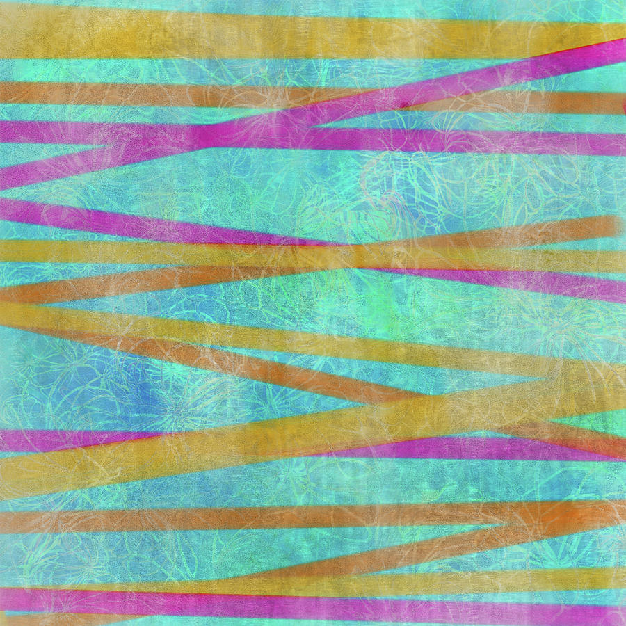 Malaysian Tropical Batik Strip Print Digital Art