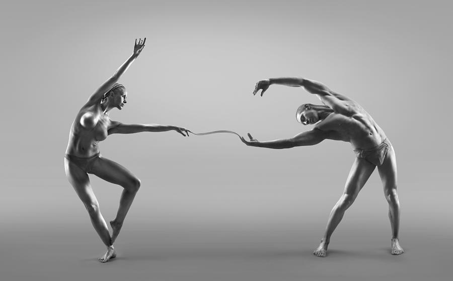 Male And Female Dancers Connected Photograph by Jonathan Knowles