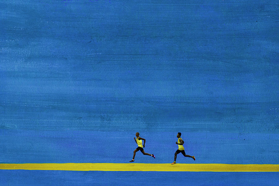 Male Athletes Running In Big Graphic Photograph by Klaus Vedfelt