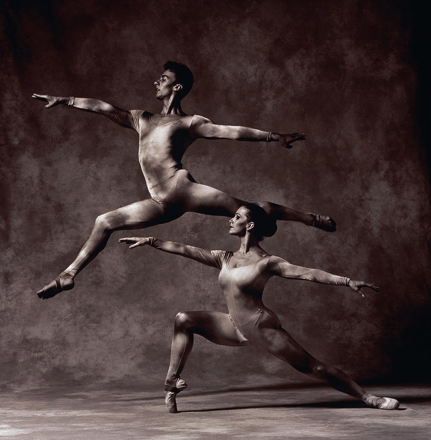 Male Dancer In Mid-air Split,female Photograph by Ray Massey