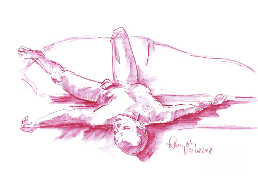 Male Figure Drawing Laying Pose Watercolor Pencil by Frank Ramspott