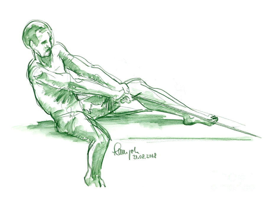 Male Nude Drawing - Male Figure Drawing Rope Watercolor Pencil by Frank Ramspott