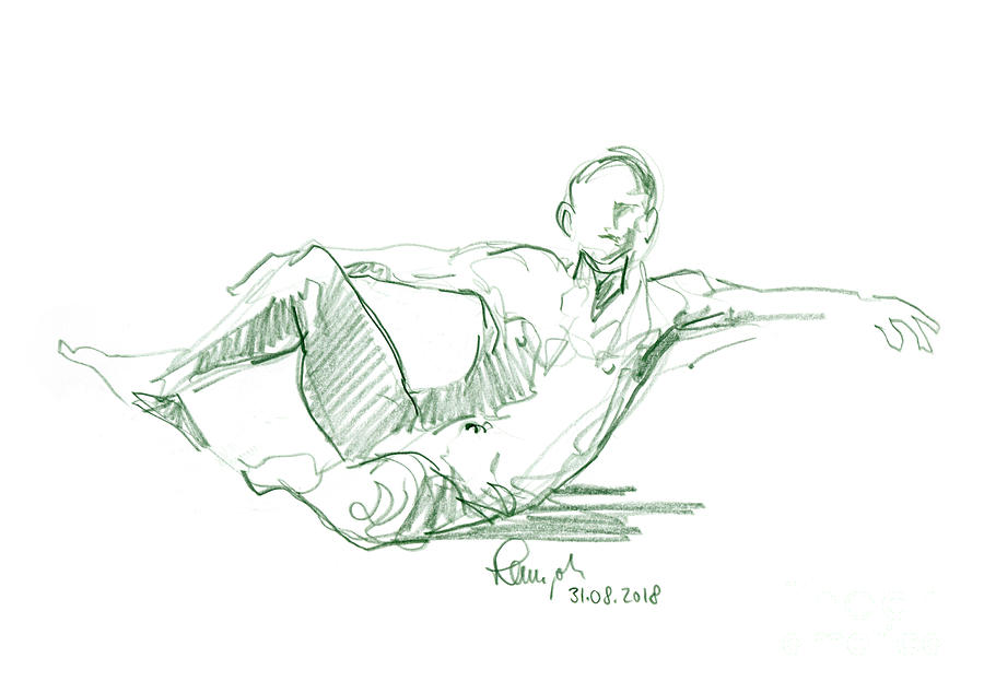 Male Nude Drawing - Male Figure Drawing Sitting Pose Colored Pencil by Frank Ramspott