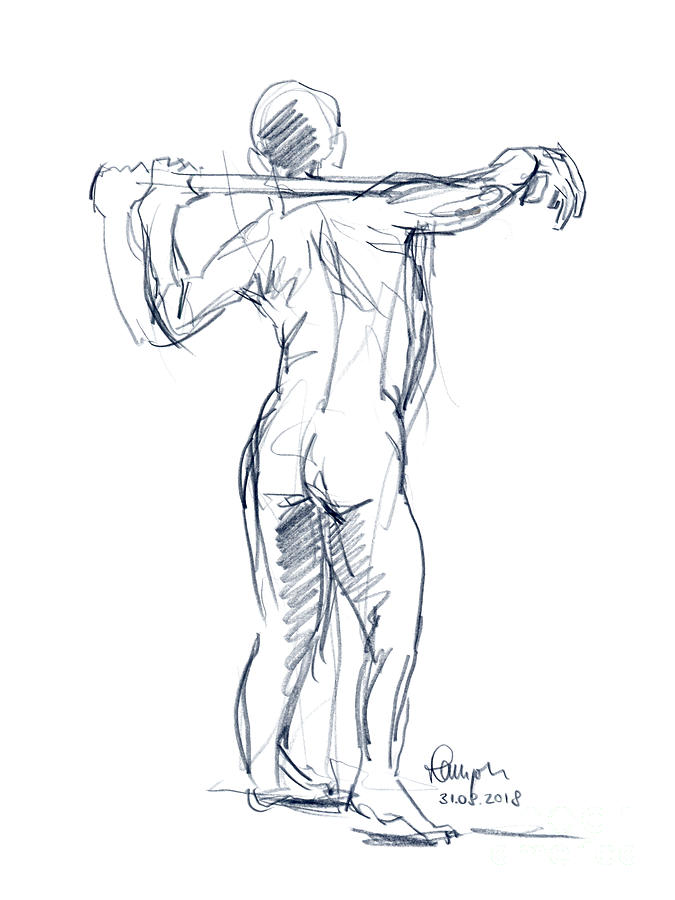 Male Figure Drawing Standing Pose Colored Pencil by Frank Ramspott