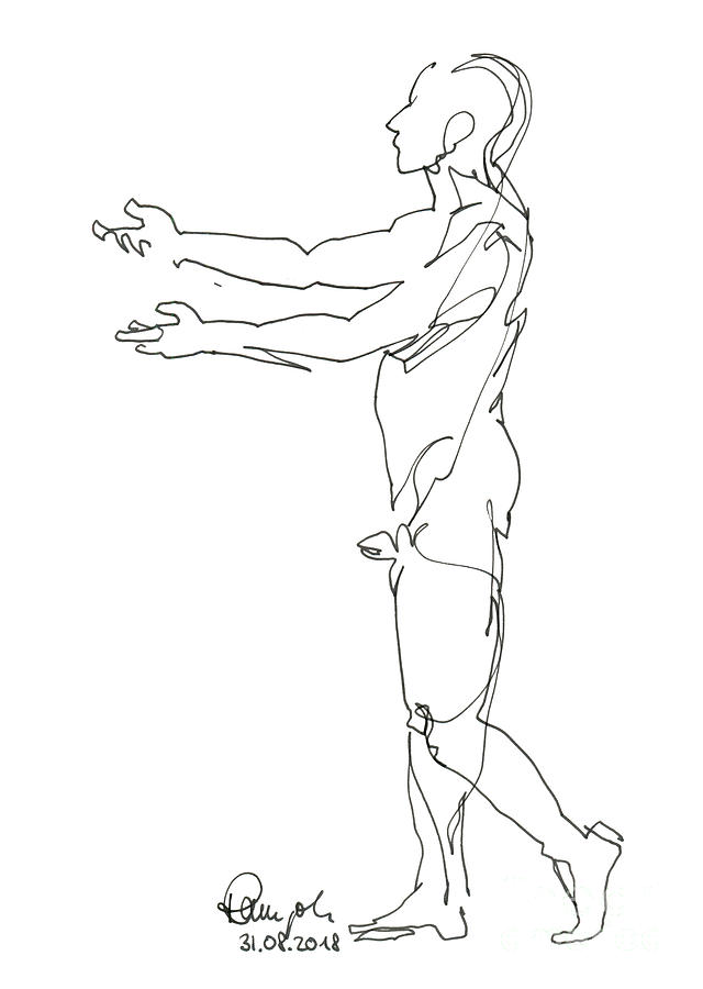 Male Nude Drawing - Male Figure Drawing Standing Pose Fountain Pen Ink by Frank Ramspott