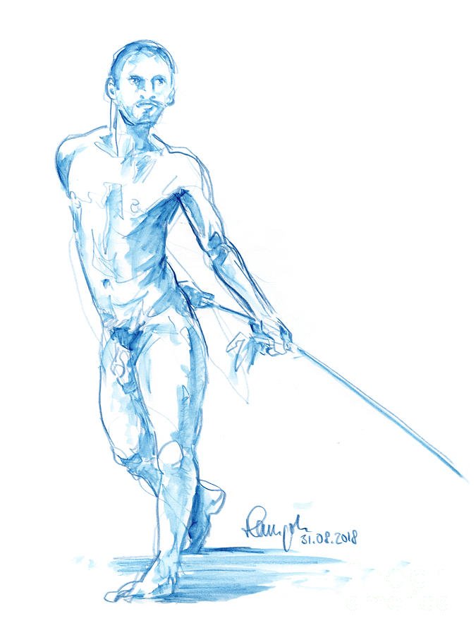 Male Figure Drawing Standing Pose Rope Watercolor Pencil by Frank Ramspott