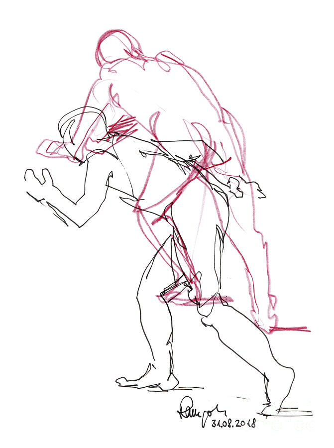 Male Figure Drawing Standing Poses Fountain Pen Ink And ...