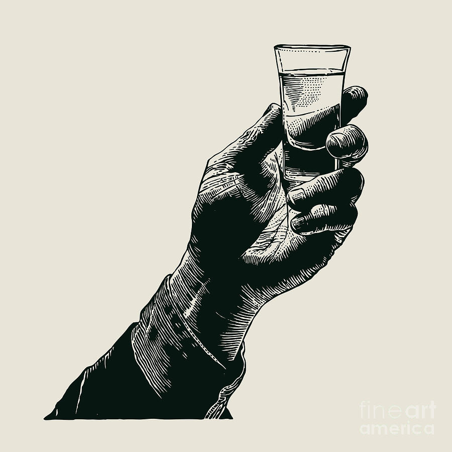 Symbol Digital Art - Male Hand Holding A Shot Of Alcohol by Jumpingsack