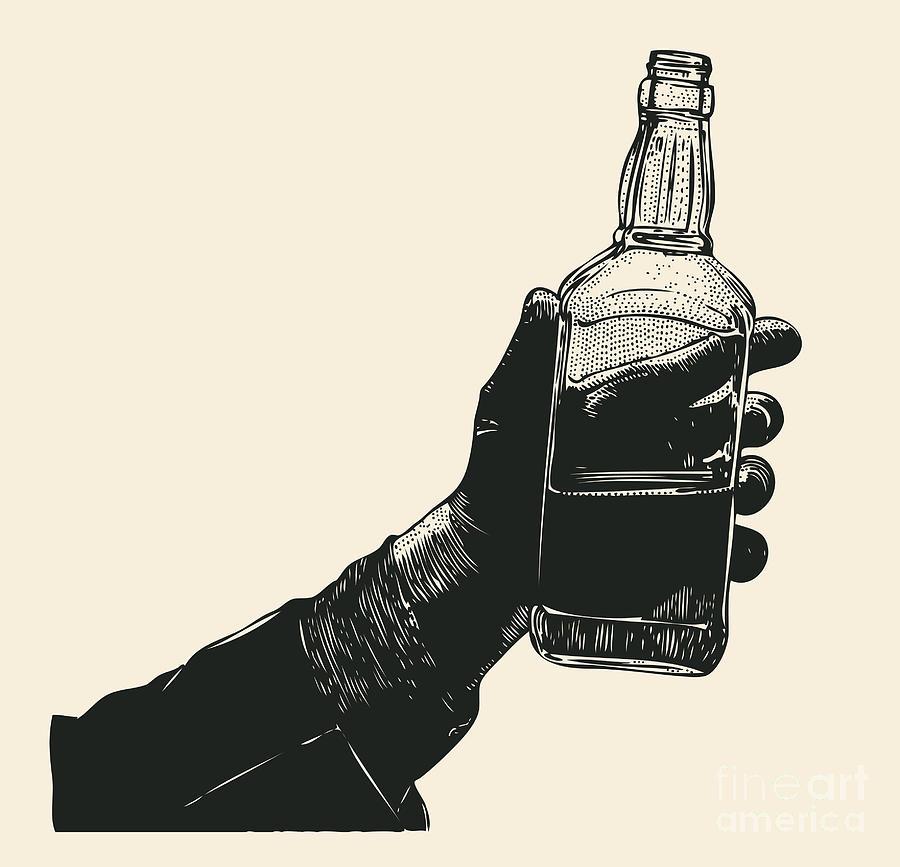 Engraving Digital Art - Male Hand Holding Bottle Of Whiskey by Jumpingsack