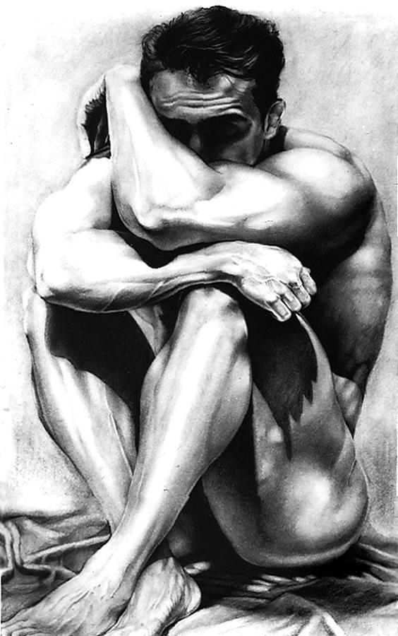 male nude charcoal original fine art drawing by RjFxx at beautifullart com