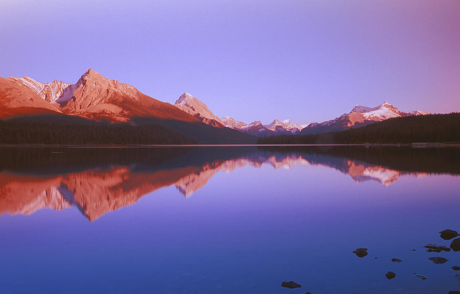 Maligne Lake With Mountain Behind On A Photograph by Design Pics