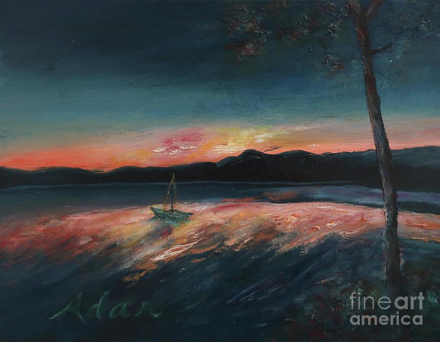 Sunrise Over Water Painting - Malletts Bay Sunrise Colchester Vermont by Felipe Adan Lerma