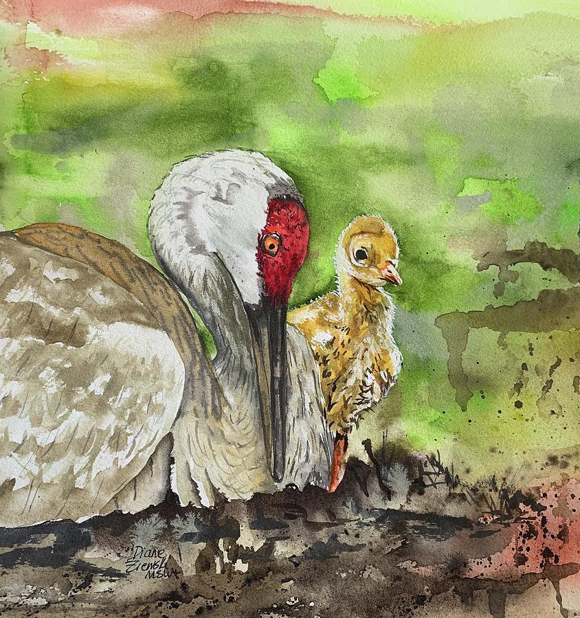 Mama and chick by Diane Ziemski