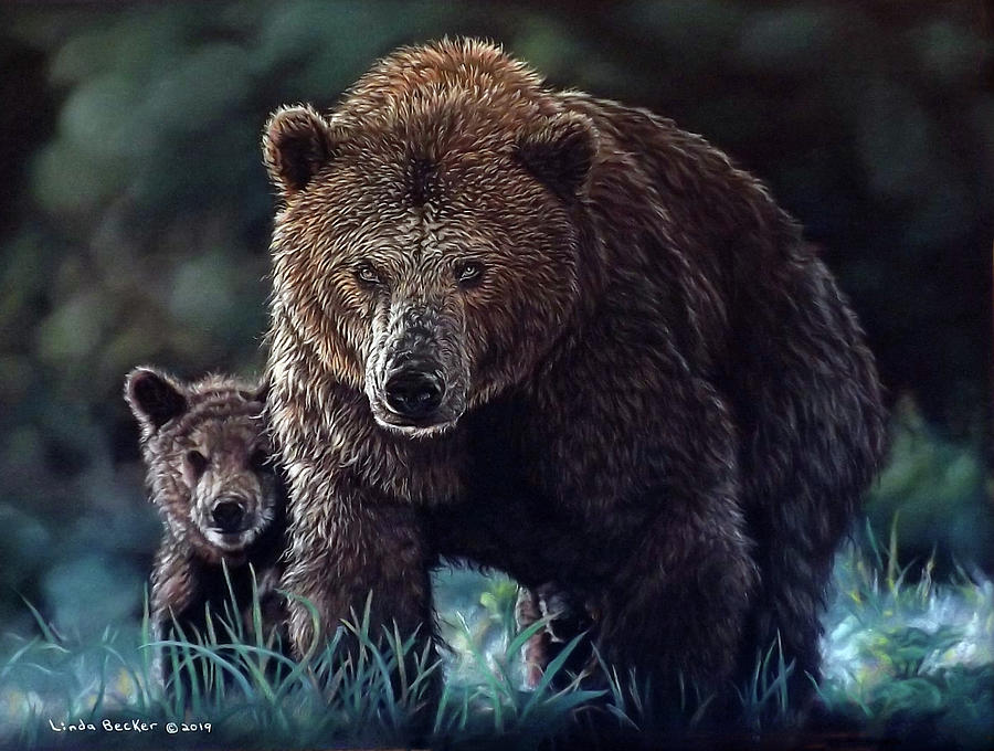 Mama Brown with Cubs by Linda Becker