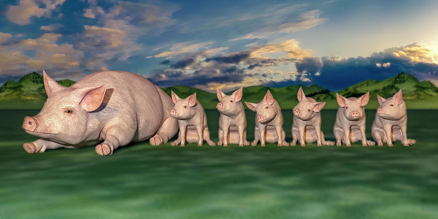 Pig Digital Art - Mamma And Her Little Clones by Betsy Knapp
