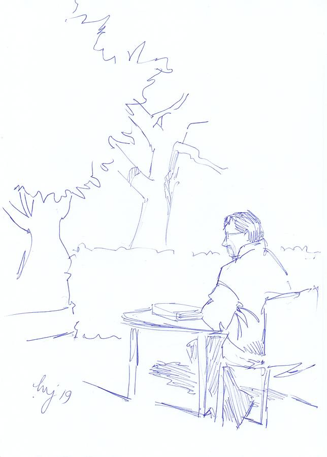 Man at library sat outside drawing by Mike Jory