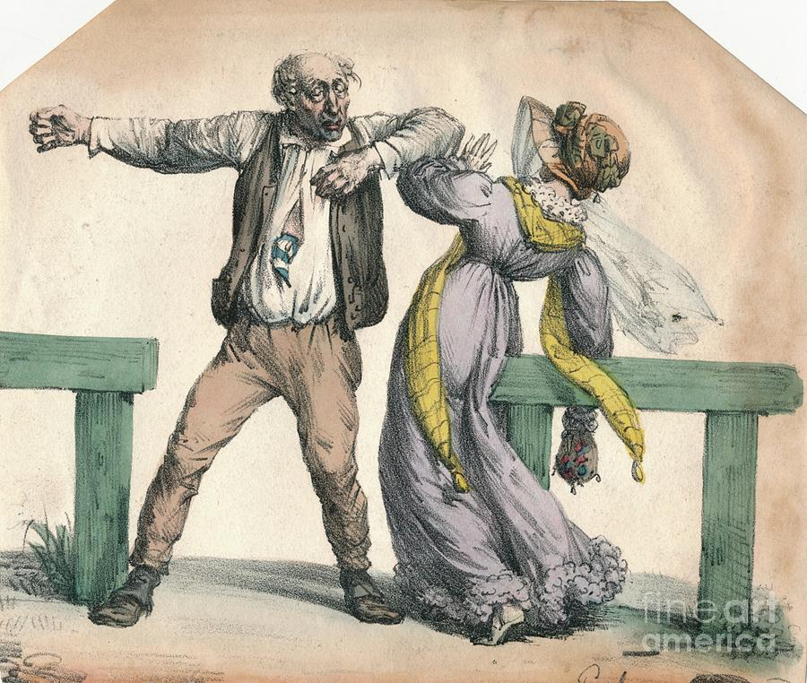 Man Attacking A Woman Drawing by Print Collector