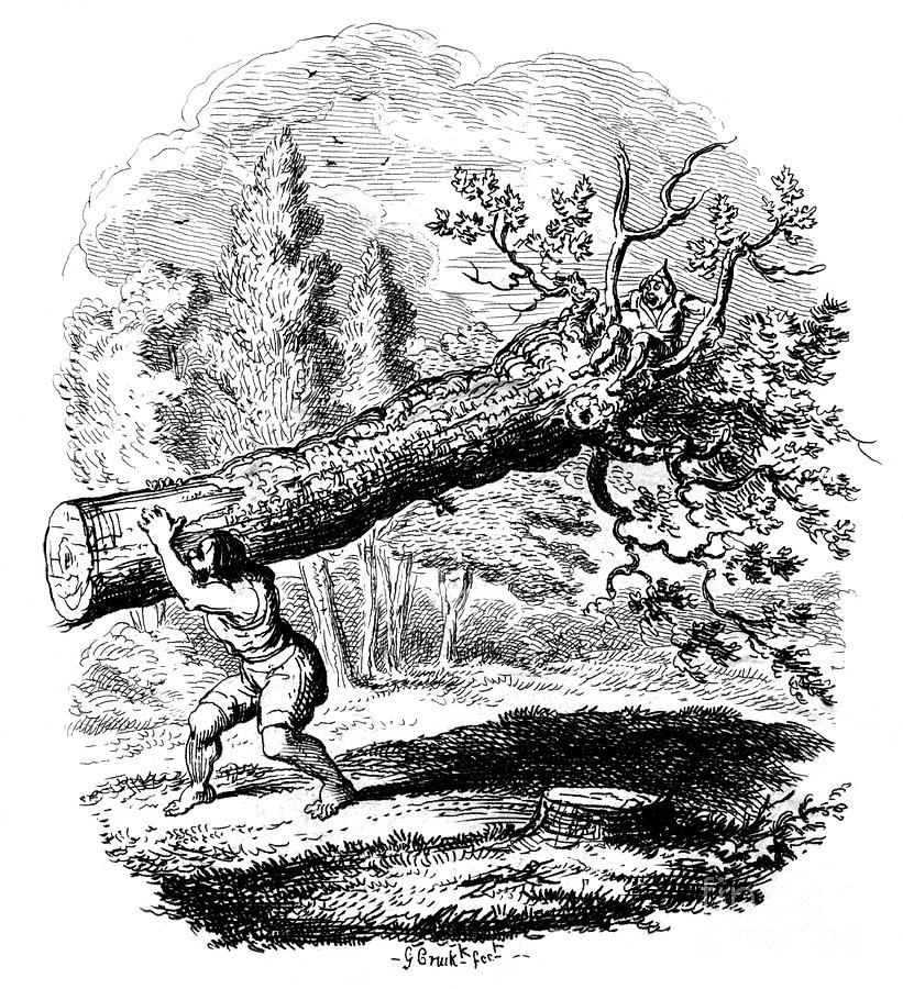 Man Carrying A Large Tree Trunk Drawing by Print Collector