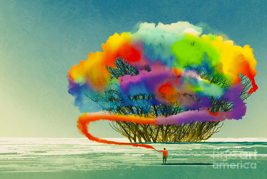 Flare Digital Art - Man Draws Abstract Tree With Colorful by Tithi Luadthong