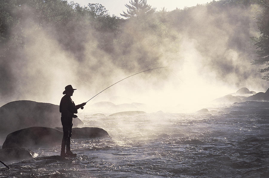 Man Fly-fishing In Contoocook River Photograph by David White