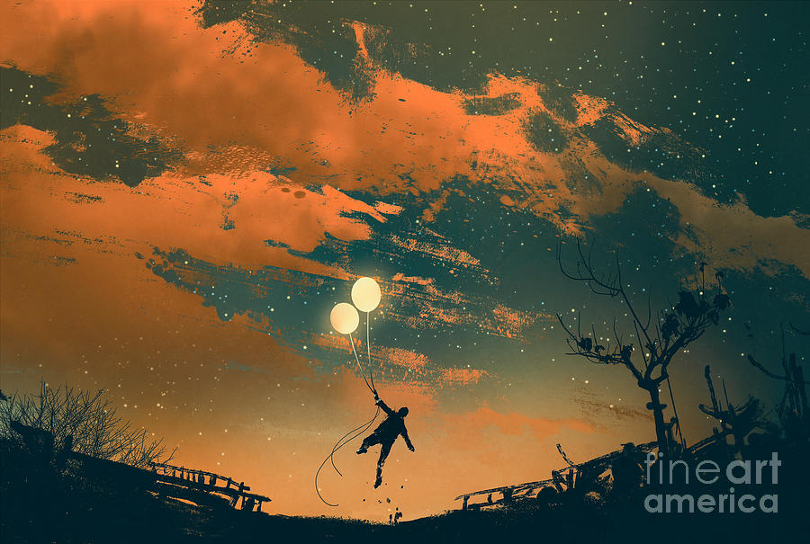 Color Digital Art - Man Flying With Balloon Lights At by Tithi Luadthong