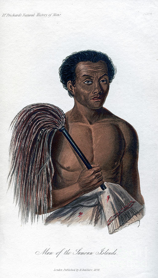 Man From The Samoan Islands, 1848 Drawing by Print Collector