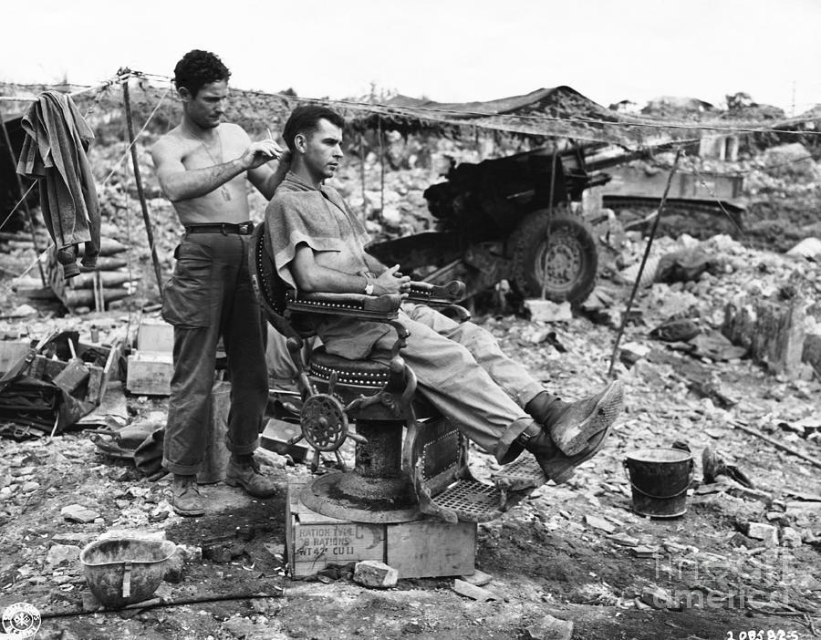 Man Having Hair Cut In Okinawa Photograph by Bettmann