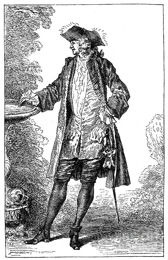 Man In 18th-century French Costume Drawing by Print Collector