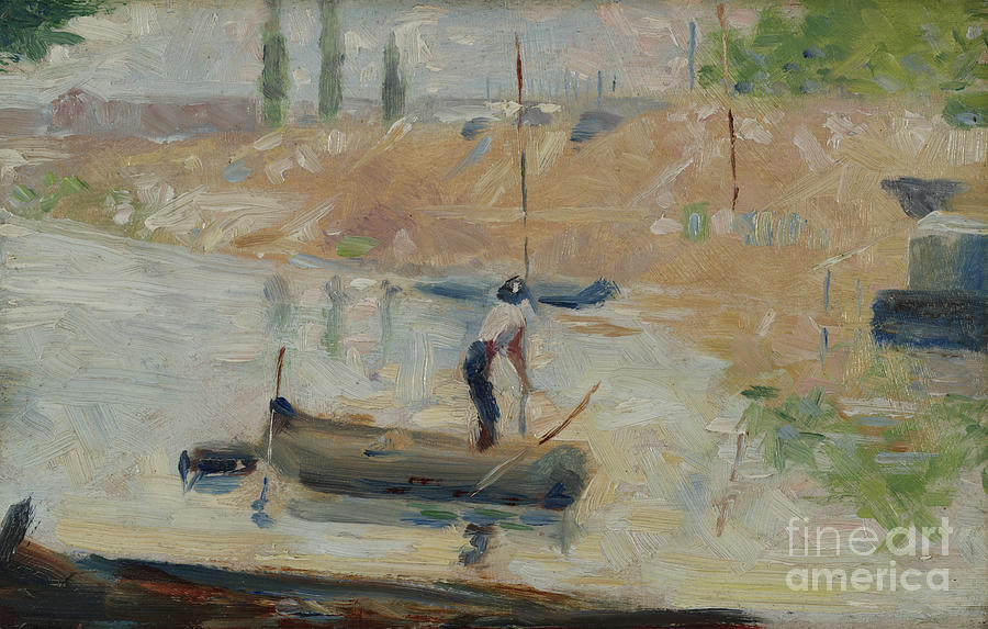 Seurat Painting - Man In A Boat, Circa 1884 by Georges Pierre Seurat