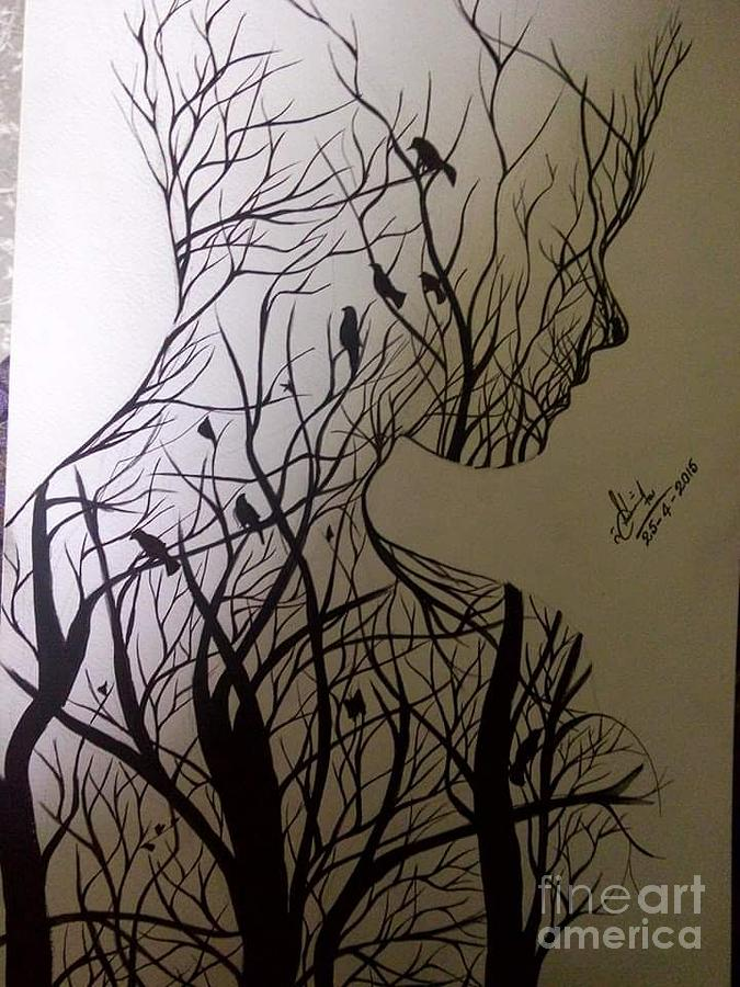 Man In Nature Drawing By Khalil Ahmad Zumbul