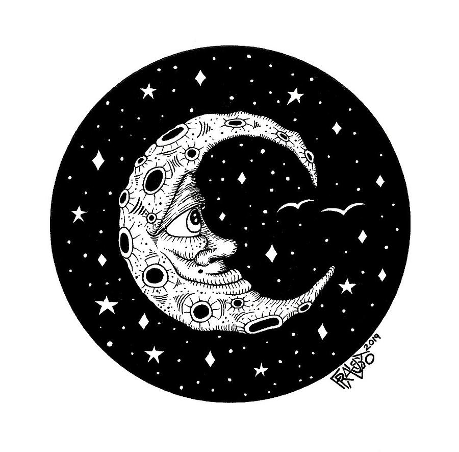 Pen And Ink Illustration Drawing - Man In The Moon Drawing by Rick Frausto