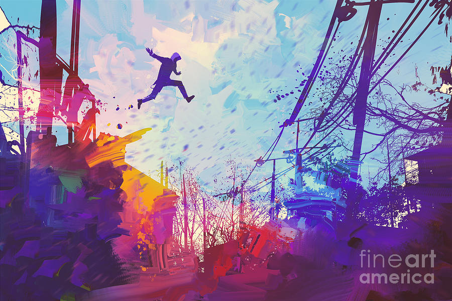 Color Digital Art - Man Jumping On The Roof In City by Tithi Luadthong