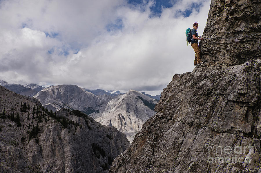 Adventure Photograph - Man Mountain Climbing Steep by Caia Image/science Photo Library