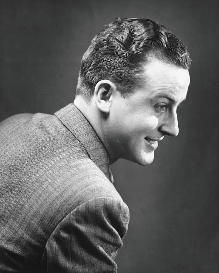 Man Posing In Studio, B&w, Portrait Photograph by George Marks