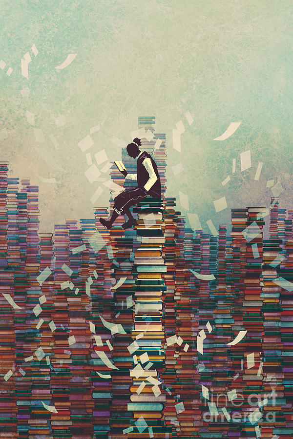 Education Digital Art - Man Reading Book While Sitting On Pile by Tithi Luadthong