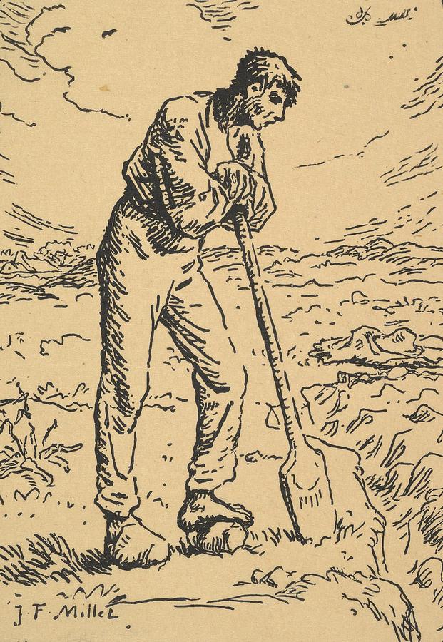 Man Resting on a Spade by Jean-Francois Millet