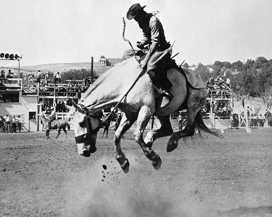 Man Riding Bucking Horse In Rodeo Photograph by Stockbyte