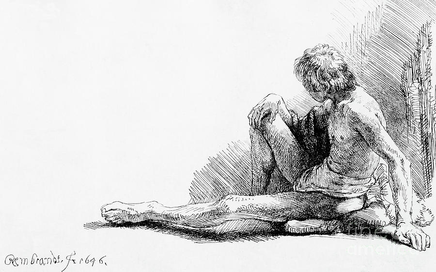 Man seated on the ground, 1646 by Rembrandt