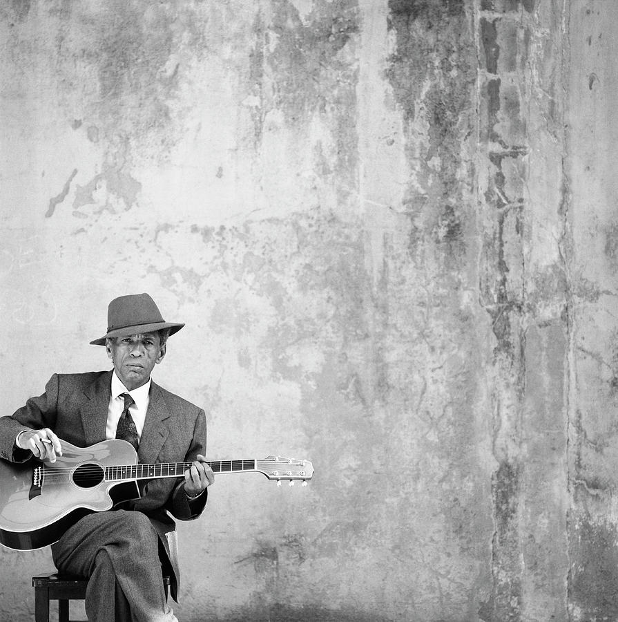 Man Sitting, Playing Guitar, Portrait Photograph by Robin Lynne Gibson