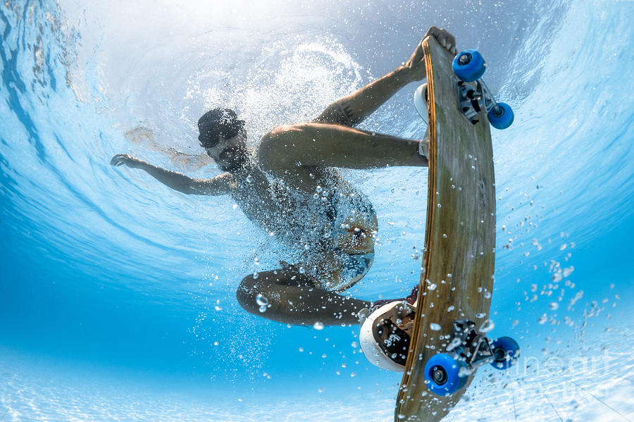 Play Photograph - Man Skateboarding Underwater In The by Wallenrock