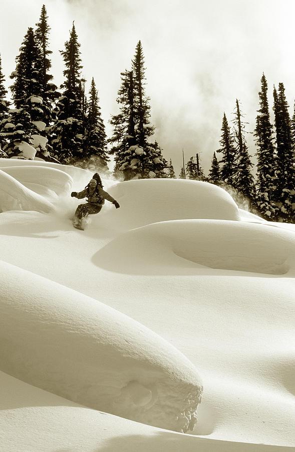 Man Snowboarding B&w Sepia Tone Photograph by Per Breiehagen